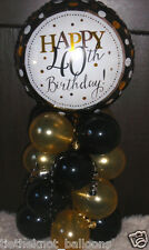 "18"" FOIL BALLOON  TABLE DECORATION DISPLAY HAPPY 40TH BIRTHDAY GOLD & BLACK 40"
