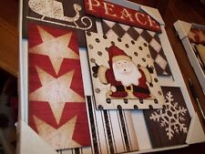 "CHRISTMAS WALL HANGING PICTURE FAUX WOOD SANTA SNOWFLAKE ""PEACE"" HOLIDAY DECOR"