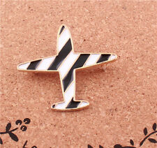 New Fashion White And Black Enamel Glazed Stripe Air Plane Pin Brooch Charm Gift