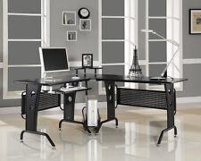 Corner Computer Desk Black Wood Home Office Furniture L Shaped Modern Design New