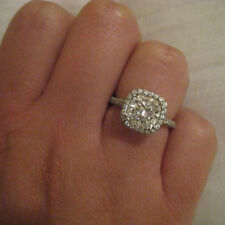 2.20 Ct Diamond Engagement Ring Solid 14K White Gold over Cushion Cut Diamond