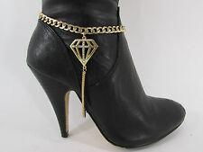 Fashion Jewelry Boot Gold Black Chain Bracelet Diamond Shoe Bling Anklet Charm