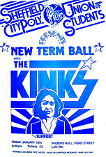 THE KINKS CONCERT POSTER A3 SIZE SHEFFIELD CITY POLYTECHNIC LATE 1970s