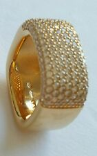 NWT EMPORIO ARMANI STERLING SILVER GOLD PLATED CRYSTAL PAVE SQUARE  RING SZ 6.5