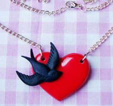BLACK SWALLOW RED HEART ROCKABILLY PENDANT NECKLACE