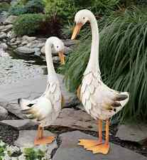 Duck Pair Statues Handcrafted Metal Garden Art Sculpture In/Outdoor Birds Pond