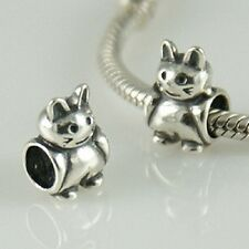 925 Solid Sterling Silver Cat Charm Bead