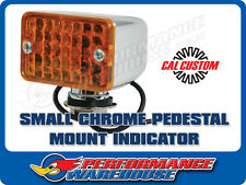SMALL CHROME TURN SIGNAL INDICATOR LIGHT AMBER LENS INCANDESCENT PEDESTAL MOUNT