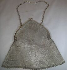 VINTAGE Art Deco Argento Sterling Mesh Cotta di Maglia Evening Bag Purse e catena 1926