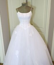 White Ball Gown Oleg Cassini Wedding Gown Beaded corset top  Size 4