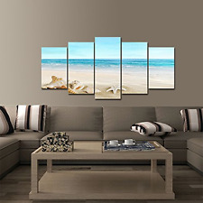 Home Decor Beach Painting Framed Canvas Wall Paintings landscape Art Picture 5PC