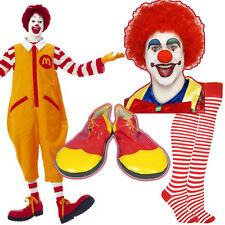 Unisex Ronald McDonald Costume Kit Clown Fancy Dress Wig MakeUp Nose Shoes Socks