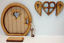 Key to My Heart Miniature Wooden 3D Fairy Door Kit with Window, Shutters and Key