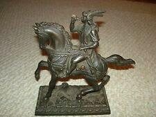 Cast iron Arab warrior horse door stop mantel piece tree trunk base Italy made