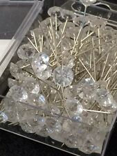 BOX of 100 Diamante Pins Bouquet Jewelry Diamond Wedding Flowers Cake Jewel Pin