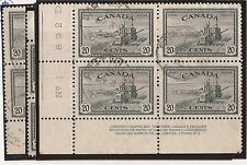 CANADA #271 USED PLATE BLOCK MATCHED SET F/VF
