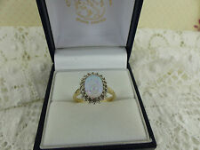 9ct 9carat Yellow Gold Natural Diamond & Lab-Created Opal Cluster Ring, Size M