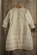 Antique French muslin gown child's dress 19th century netting inserts