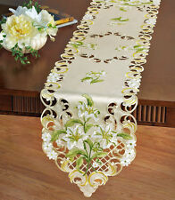 "Vintage Easter Lily Easter Table Runner Lacy Embroidered Ivory White Lily 68""x13"