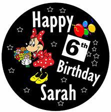 PERSONALISED - MINNIE MOUSE - BIRTHDAY BADGE, ANY NAME AND AGE - NEW - SIZE 77mm
