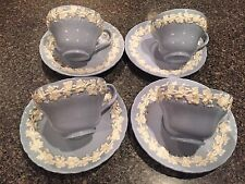 4 Wedgwood Queensware Cream On Lavender Blue Shell Edge- TEA CUPS AND SAUCERS
