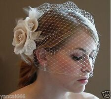 Champagne/White Fascinator Wedding Bridal Birdcage Face Veil With Comb Stock