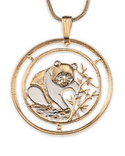 Panda Bear Pendant & Necklace. Chinese Coin Hand cut - 1 inch diameter ( # 68 )