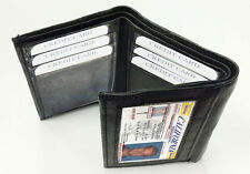 BLACK MEN'S LEATHER CREDIT CARD HOLDER PLAIN SLIM TRIFOLD WALLET ID BADGE LP23