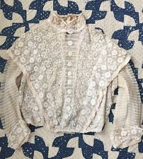 Antique Victorian Irish Crochet Lace Blouse Bodice Net Tiers Three Dimensional