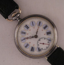 WW1 Years ALL ORIGINAL Urania GunMetal Gent's Swiss Wrist Watch Perfect Serviced
