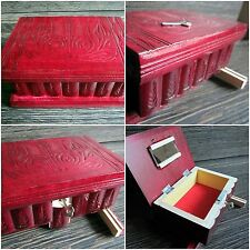 Puzzle BOX SAFE Bank SECRET HIDDEN Stash JEWELRY Gift Piggy Bank Red Hide Key