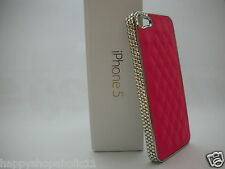 Quilted Chrome Faux Leather Phone Case w/Swarovski Crystal Bling FOR iPhone 5 5s