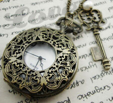 Alice in Wonderland Pocket Watch Necklace Key and Pearl LARGE Steampunk