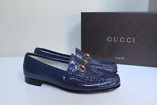 New sz 10 / 40 Gucci Blue Patent Leather 1953 Horsebit Loafer Women's Flat Shoes