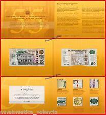 SURINAM SURINAME 50 dollars 2012 Commemorative 55 years Folder Pick 167 UNC