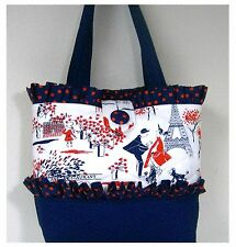 New handmade tote purse handbag Paris poodle Eiffel Tower cafe' bag faffygiraffe