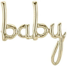 "Giant 34"" ""BABY"" White Gold Script Foil Balloon 34 inch Foil Balloon, Birthday"