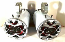 "1200 Watt BOSS ""Metallic White"" Wakeboard Tower Boat Speakers - SJS Dezign Spkr"