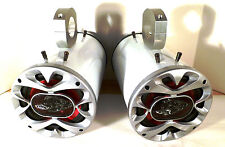 "1200 Watt BOSS Boat Wakeboard Tower Speakers ""Metallic White""  -SJS Dezign UTV"
