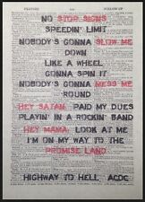 Highway to Hell ACDC CANZONI stampa vintage dizionario pagina WALL ART PICTURE ROSSO