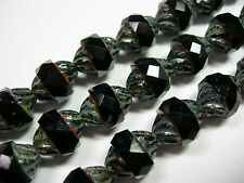 14 11x10mm Czech Glass Faceted Jet Black Travertine Turbine Beads