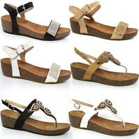 LADIES WEDGE SANDALS WOMENS FANCY SUMMER MID LOW PARTY HEELS BEACH SHOES SIZE