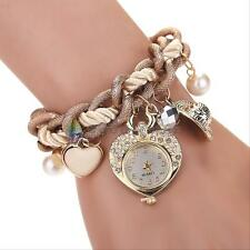 Fashion Women Rhinestone Dial Stainless Steel Heart Jewelry Bracelet Wrist Watch