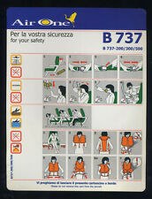 AIR ONE Airline Safety Card B737-200/300/500 memorabilia no ALITALIA - sc645 ax