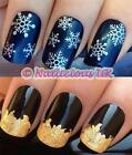 NAIL ART CHRISTMAS SET #849. 3D SILVER SNOWFLAKES STICKERS/DECALS & GOLD LEAF