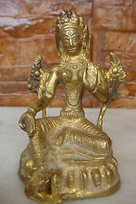 RARE BRONZE GODDESS TARA BUDDHISM FIGURE SCULPTURE ANTIQUE BUDDHA