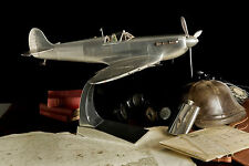 "WWII 1936 SUPERMARINE SPITFIRE METAL ALUMINUM 29"" AIRPLANE MODEL FIGHTER PLANE"