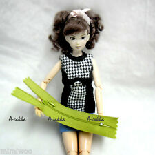 Bjd Doll Dress Making DIY Craft Material 13cm Close End Zipper Green 2pcs Set