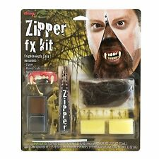 Halloween Werewolf Zipper Face Kit Zip Teeth Fangs Special FX Makeup Demon