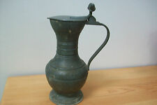 Vintage French Pewter Tankard with acorn finials and flip lid. #28 breweriania